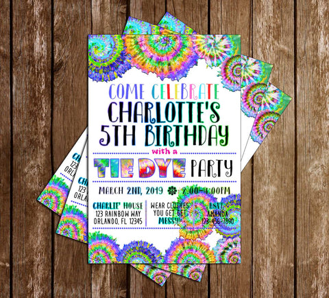 Tie Dye - Birthday - Party - Invitation