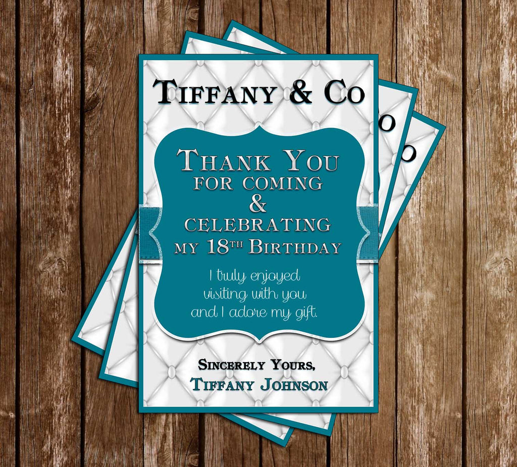 Tiffany & Co - Silver - Birthday Party - Thank You Card