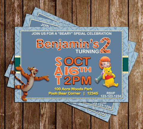 Novel concept designs customized invitations my friends tigger and pooh birthday invitation filmwisefo Gallery