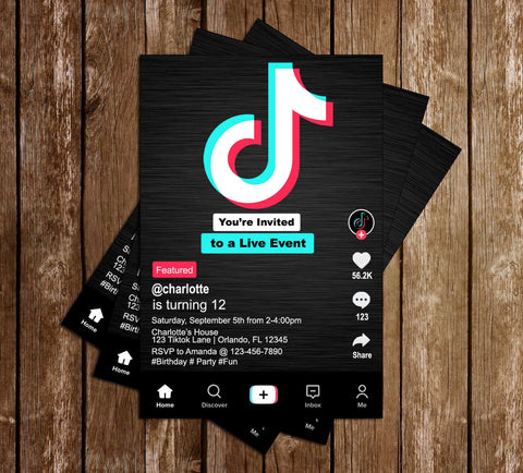 Tik Tok - Social Media - Birthday Party - Invitation