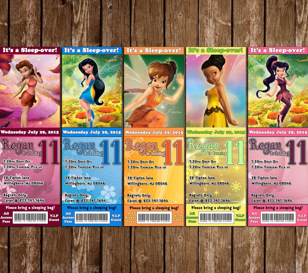 Disney Tinkerbell and Friends Birthday Ticket Invitation