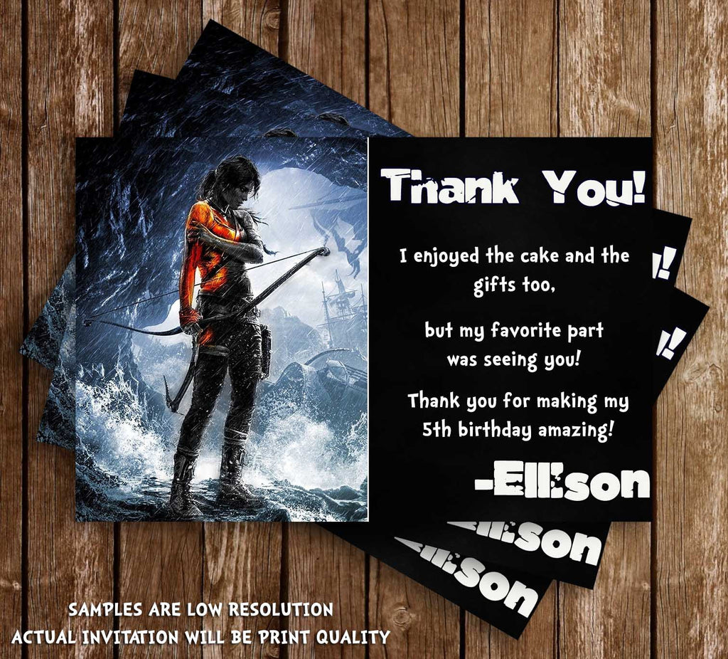 Novel concept designs tomb raider video game birthday thank you card tomb raider video game birthday thank you card stopboris Choice Image