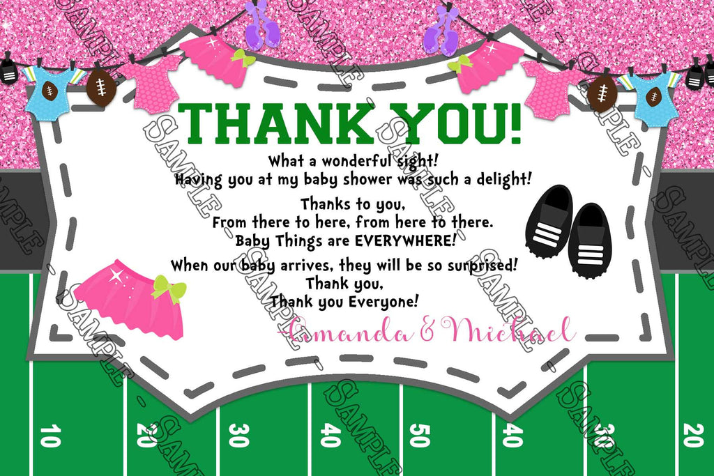 touchdowns or tutus gender reveal baby shower thank you card