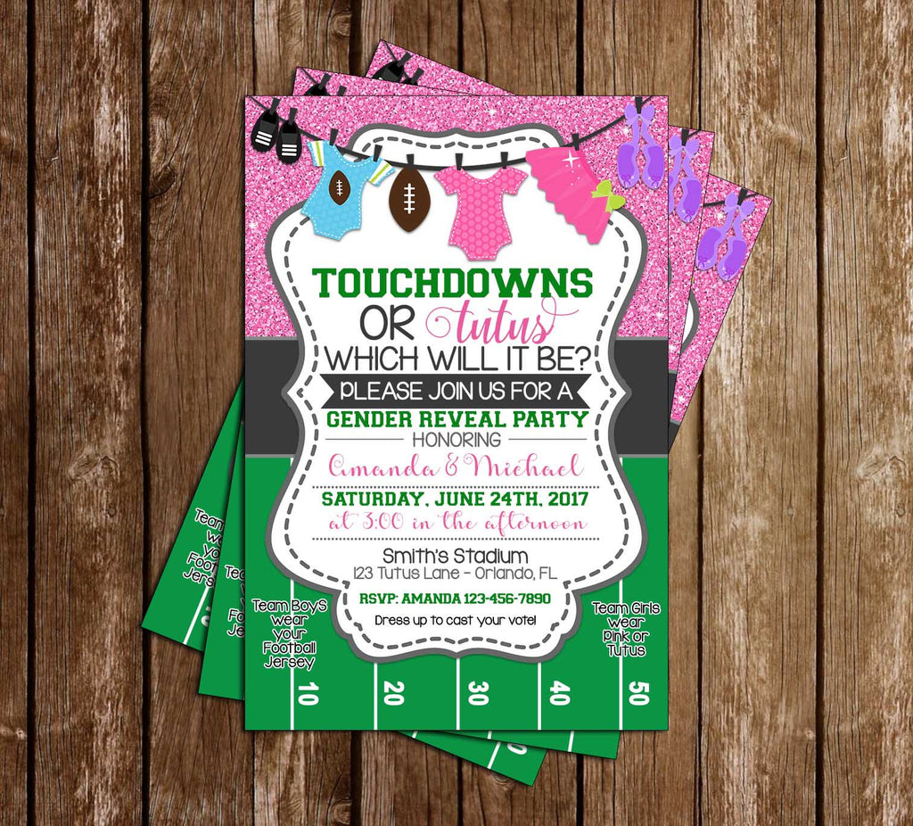 Novel Concept Designs - Touchdowns or Tutus - Gender Reveal - Baby ...