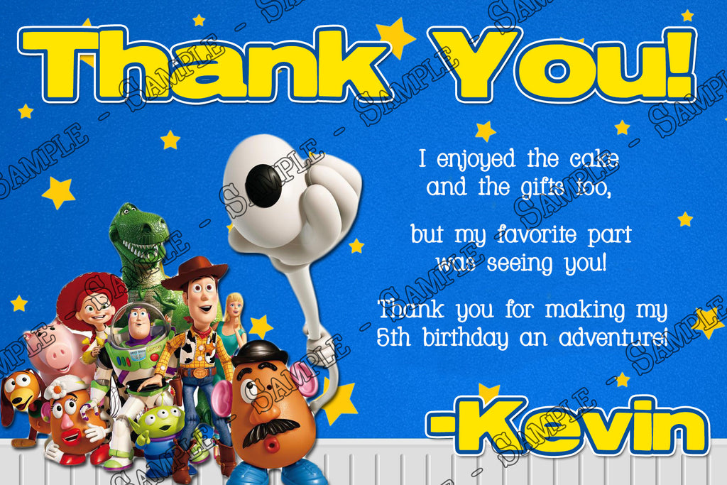 Novel Concept Designs Toy Story Birthday Thank You Card Stars