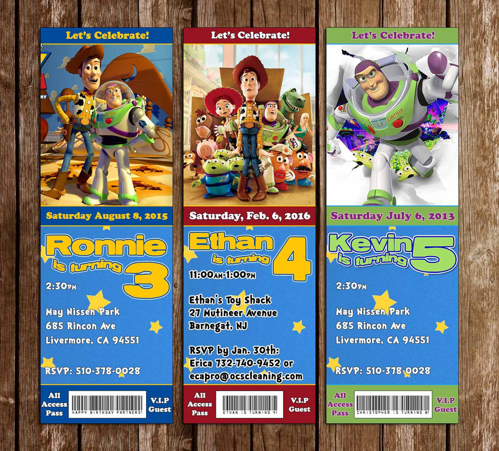 Toy Story Birthday Ticket Invitation (3 Designs)