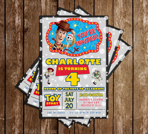 Toy Story - Tall Chalk - Birthday Party - Invitations