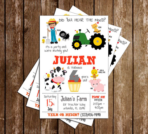 Green Tractor - Farm Animals - Birthday Party - Invitation
