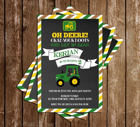 Green Tractor - Oh Deere - Birthday Party - Invitation