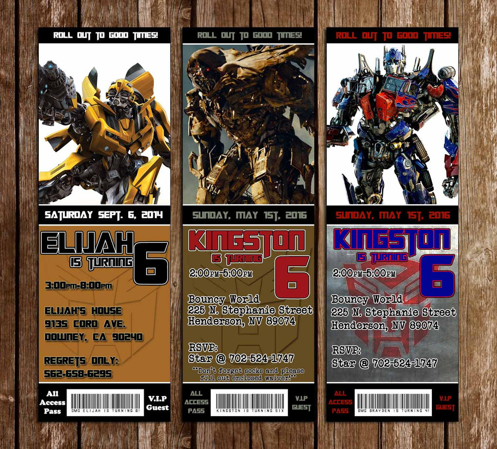 Novel Concept Designs Transformers Birthday Party Ticket Invitations