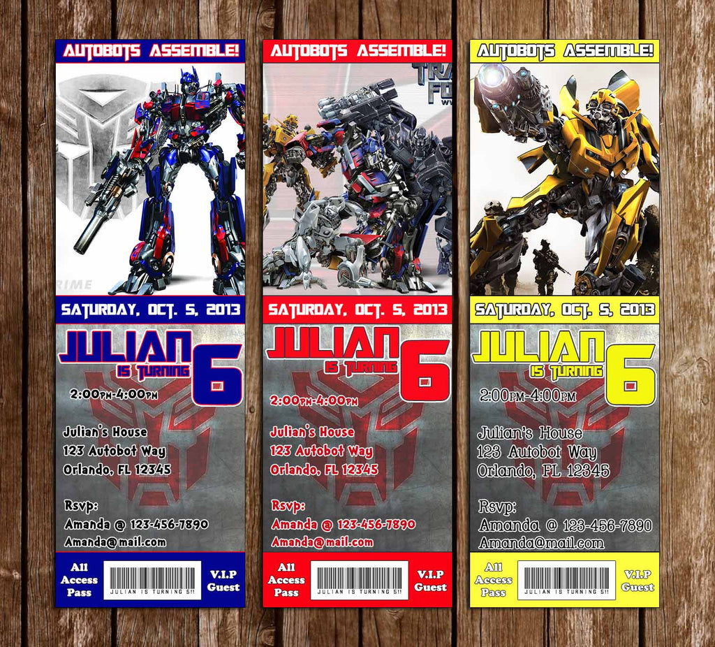 Transformers Movie Birthday Party Ticket Invitation