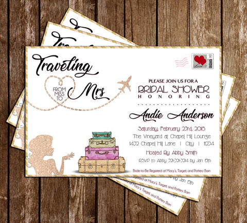 Miss to Mrs - Traveling  - Bridal Shower - Invitation
