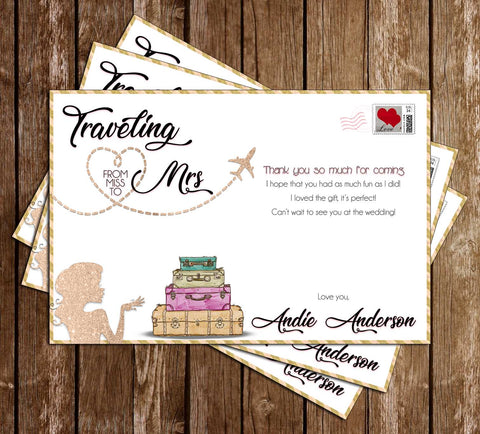 Traveling - Miss to Mrs - Bridal Shower - Thank You Card