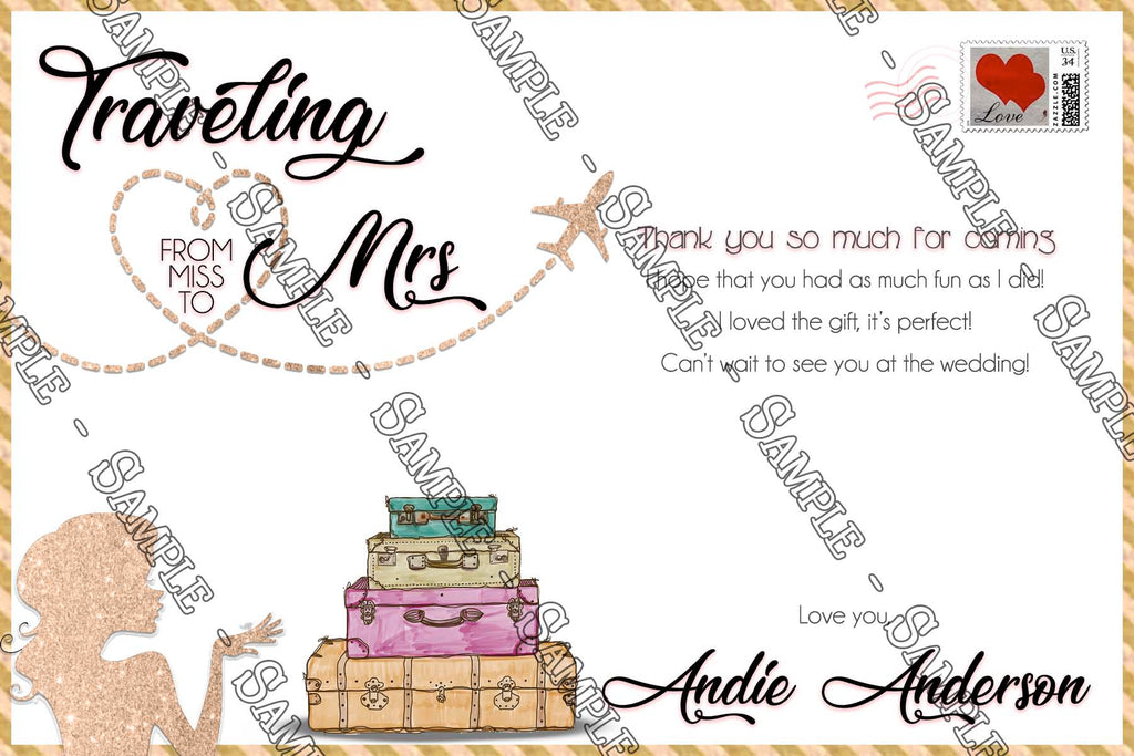traveling miss to mrs bridal shower thank you card