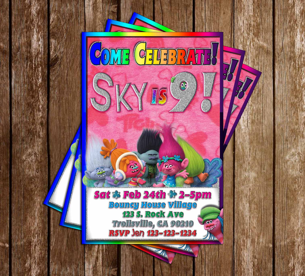 The Trolls - Movie - Glitter - Birthday Party Invitations