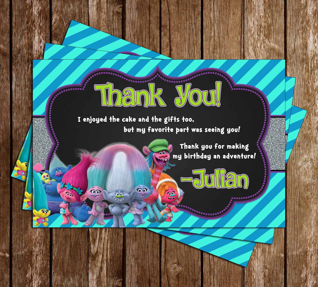 Trolls Movie Birthday Party Thank You Cards