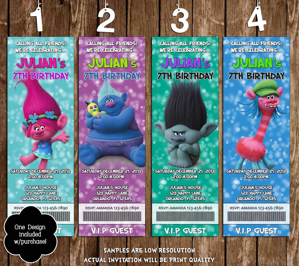 troll dolls trolls the movie birthday ticket invitations