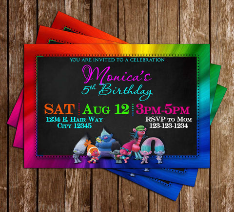 Novel concept designs birthday invitations the trolls movie rainbow birthday party invitations stopboris Choice Image