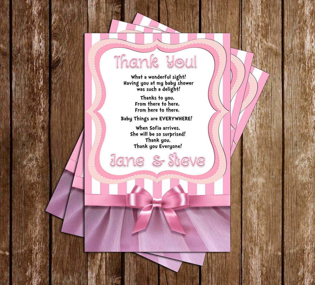 Tutu Excited - Ballerina - Baby Shower - Party - Thank You Card