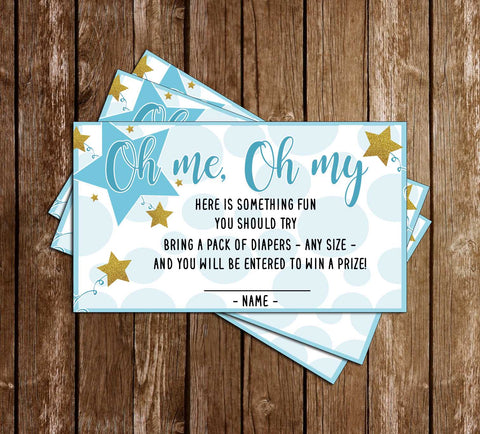 Twinkle Twinkle Little Star - Boy - Baby Shower - Diaper Raffle Ticket