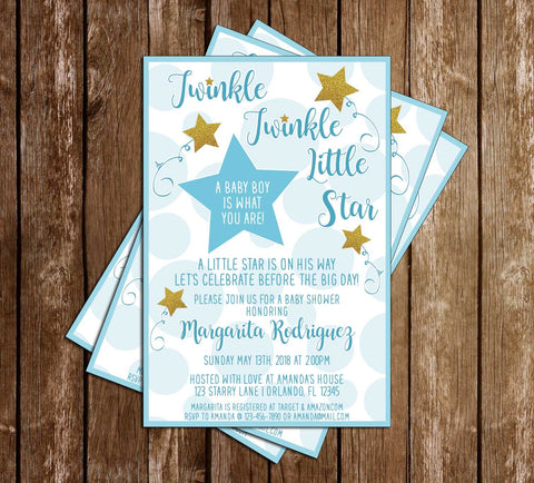 Twinkle Twinkle Little Star - Boy - Baby Shower - Invitation