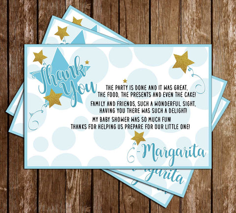 Twinkle Twinkle Little Star - Boy - Baby Shower - Thank You Card