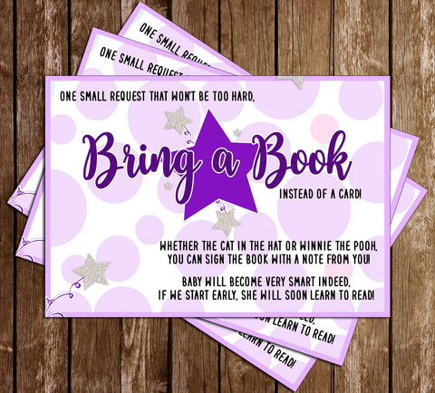 Twinkle Twinkle Little Star - Purple- Baby Shower - Bring a Book