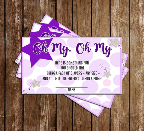 Twinkle Twinkle Little Star - Purple - Baby Shower - Diaper Raffle Ticket