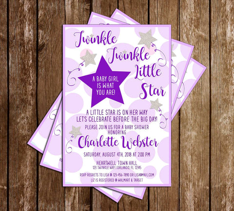 Twinkle Twinkle Little Star - Purple - Baby Shower - Invitation