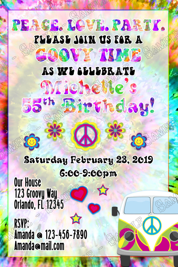 Novel Concept Designs Tie Dye Groovy Birthday Party Invitation