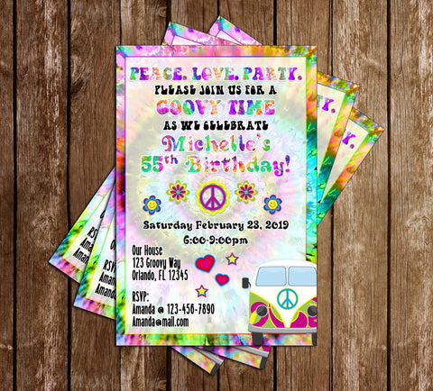 Tie Dye - Groovy - Birthday Party - Invitation