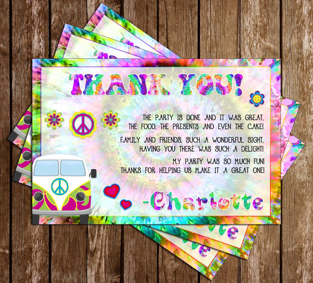 Tie Dye - Groovy - Birthday - Party - Thank You Card
