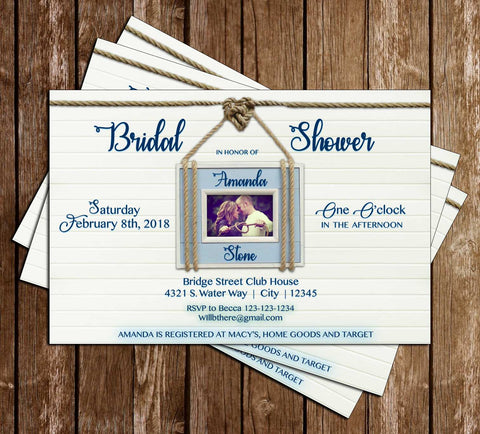 Nautical - Tying the Knot - Bridal Shower - Invitation