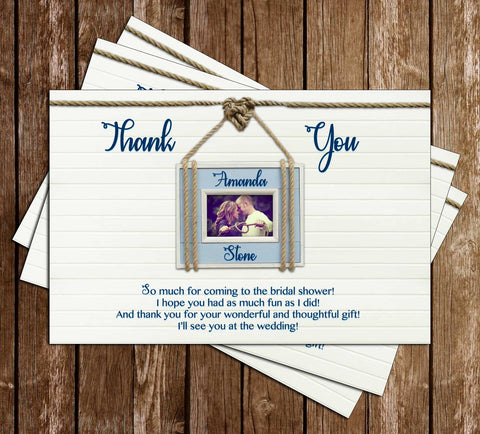 Nautical - Tying the Knot - Bridal Shower - Thank You Card
