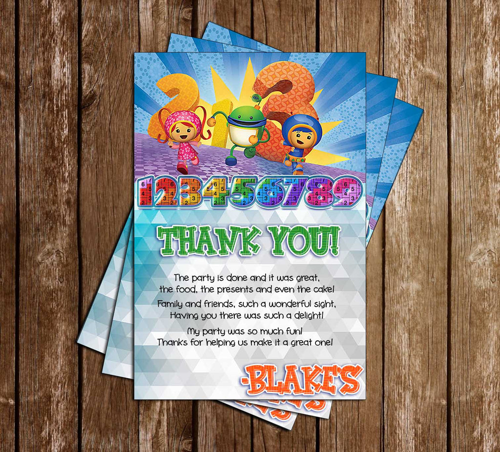 Umizoomi  - Numbers - Birthday Party - Thank You Card