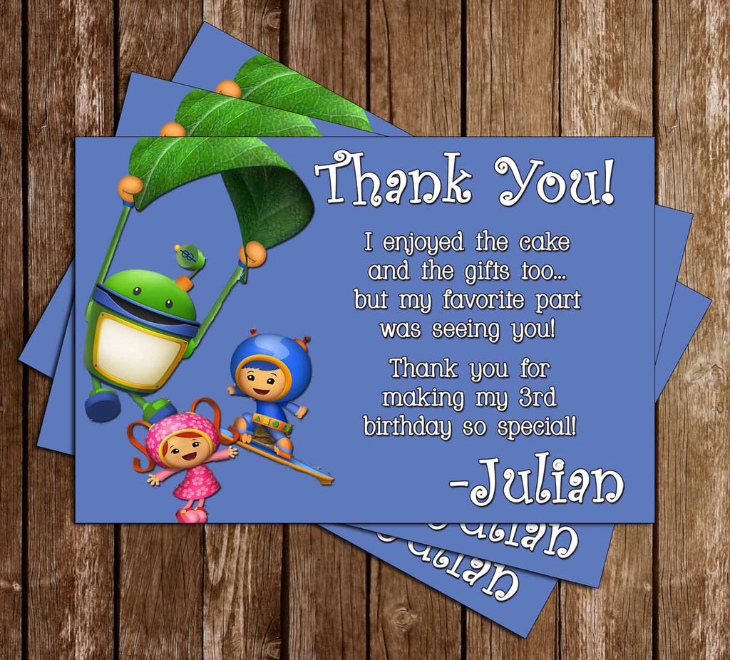 Team Umizoomi Birthday Thank You Card (Group)