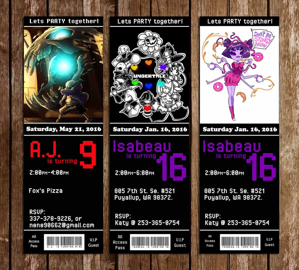 Undertale Game Ticket Birthday Invitation