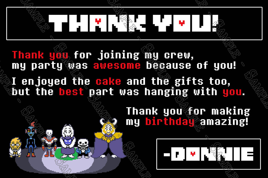 Novel Concept Designs Undertale Video Game Birthday Invitation - Birthday invitation video