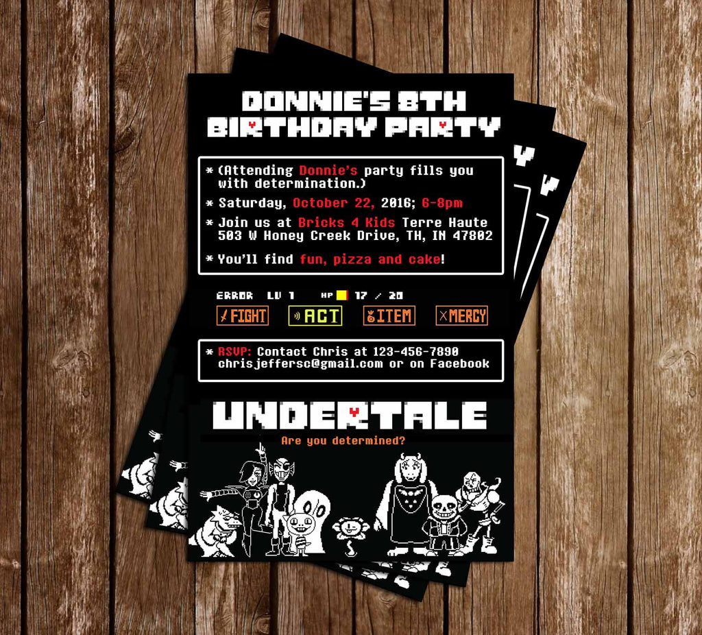 Undertale - Video Game - Birthday Invitation