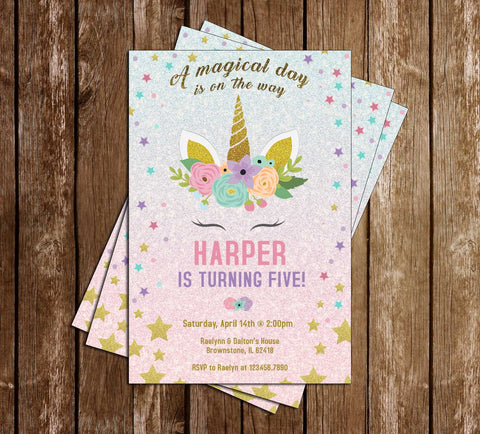 Unicorns - Glitter Gold - Birthday - Party - Invitation