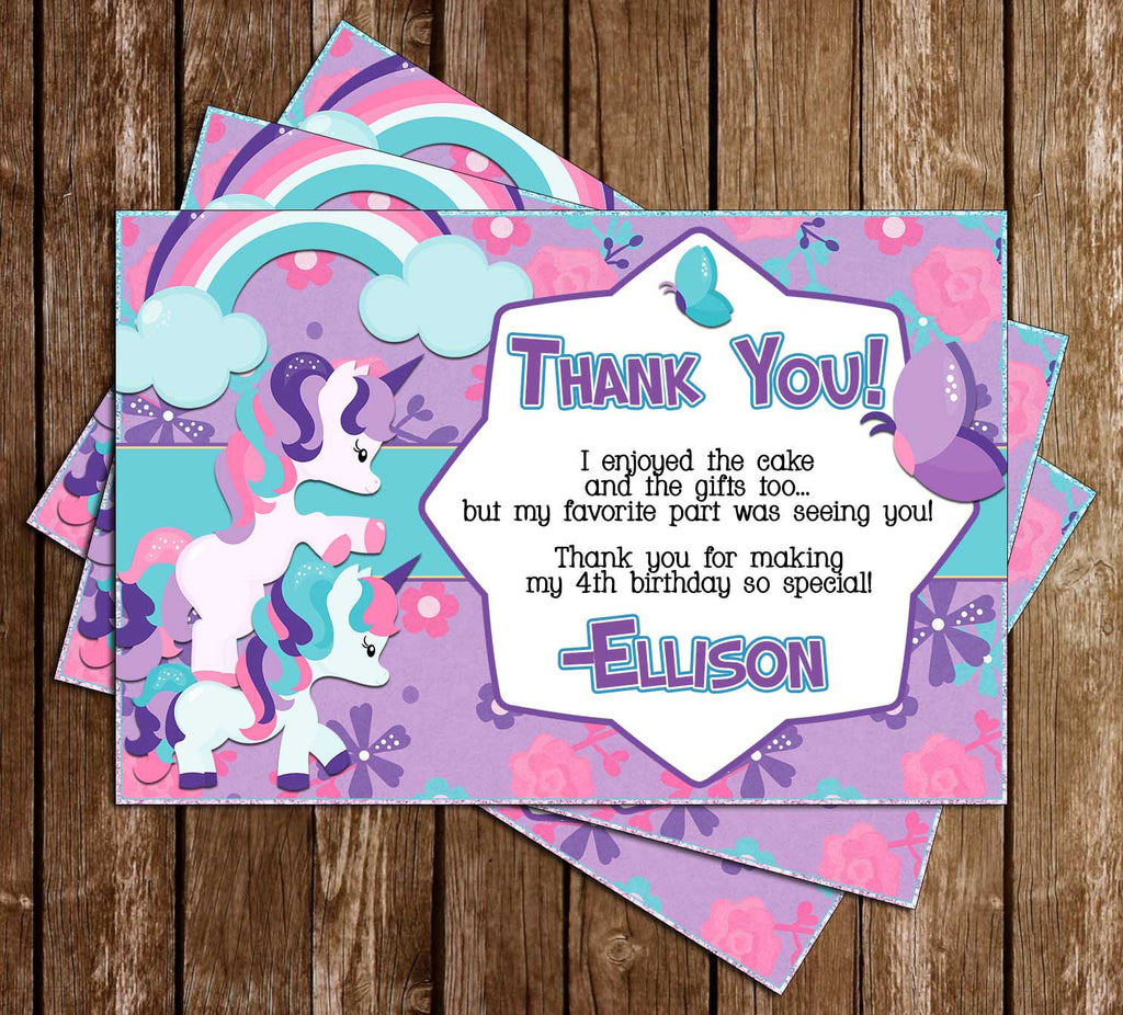 Unicorns - Magical Creatures - Birthday Party - Thank You Card