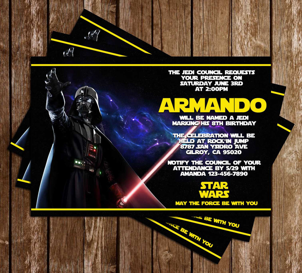 Darth Vader - Yellow - Star Wars - Birthday Party - Invitation