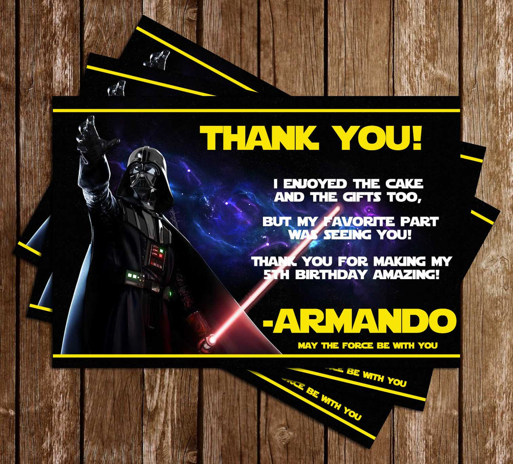 Darth Vader - Yellow - Star Wars - Birthday Party - Thank You Card