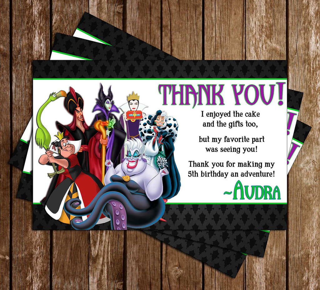 Novel Concept Designs Disneys Villains Birthday Thank You Card