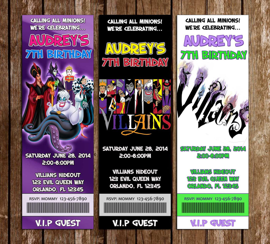 Novel Concept Designs Disneys Villains Birthday Party Ticket – Party Ticket Invitations