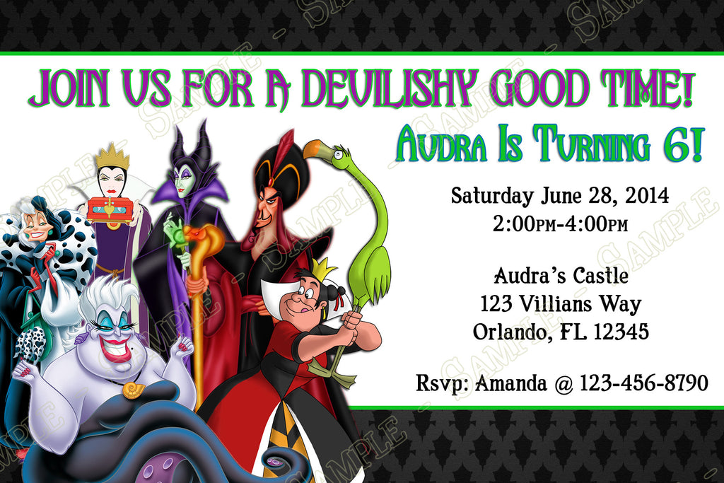 Novel Concept Designs - Disney\'s Villains Birthday Party Invitation