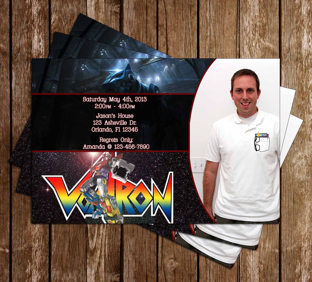 Voltron Birthday Party Invitation With Photo