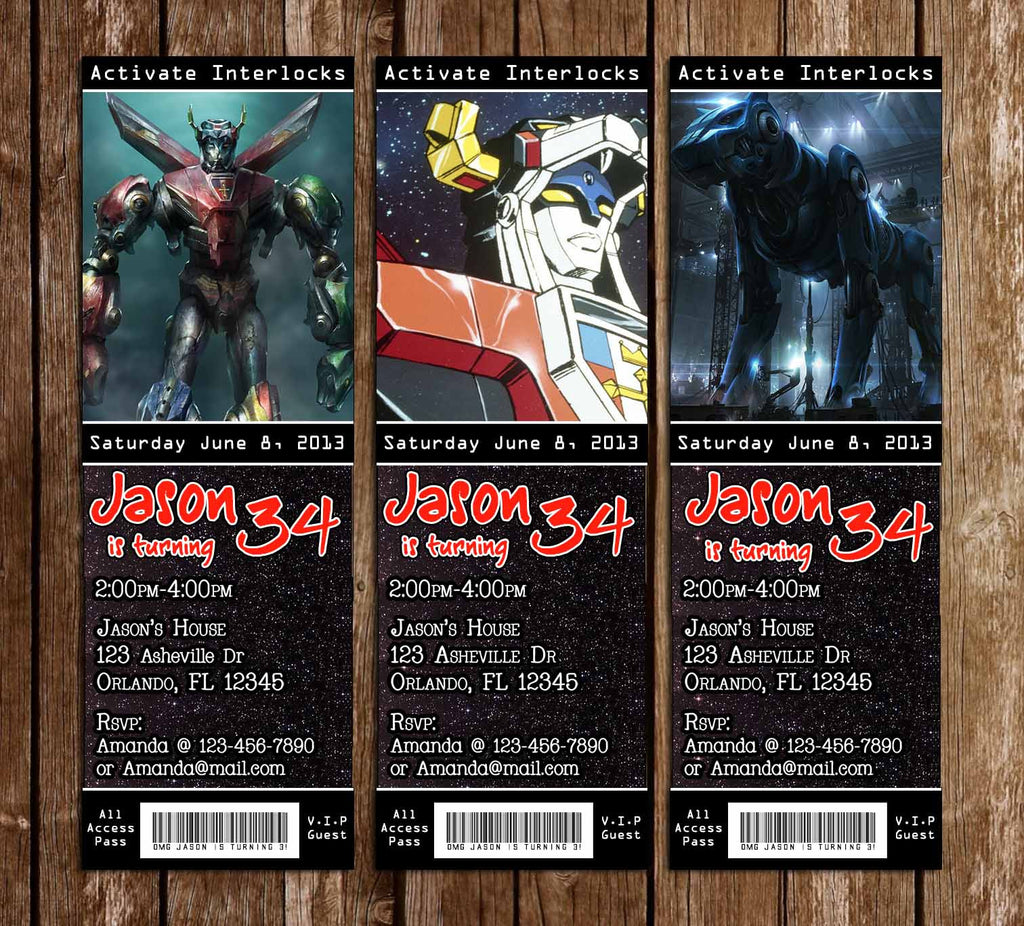 Voltron Birthday Party Ticket Invitation