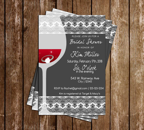 Wine Glass - Bridal Shower - Invitation