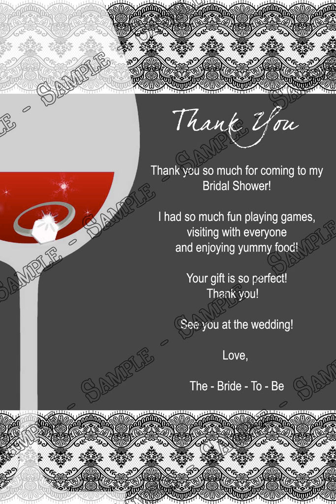 wine glass bridal shower invitation thank you card